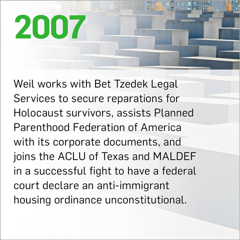 Weil works with Bet Tzedek Legal Services to secure reparations for Holocaust survivors, assists Planned Parenthood Federation of America with its corporate documents, and joins the ACLU of Texas and MALDEF in a successful fight to have a federal court declare an anti-immigrant housing ordinance unconstitutional.