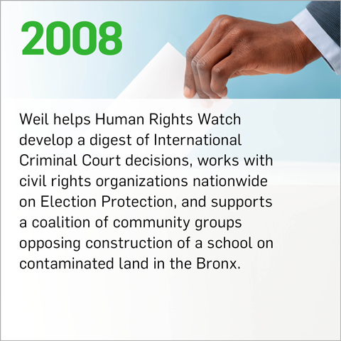 Weil helps Human Rights Watch develop a digest of International Criminal Court decisions, works with civil rights organizations nationwide on Election Protection, and supports a coalition of community groups opposing construction of a school on contaminated land in the Bronx.