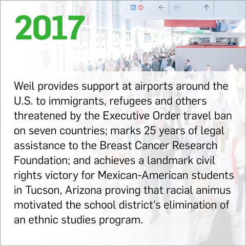 Weil provides support at airports around the U.S. to immigrants, refugees and others threatened by the Executive Order travel ban on seven countries; marks 25 years of legal assistance to the Breast Cancer Research Foundation; and achieves a landmark civil rights victory for Mexican-American students in Tucson, Arizona proving that racial animus motivated the school district's elimination of an ethnic studies program.