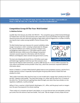 Law360 Competition Practice Group of the Year 2017